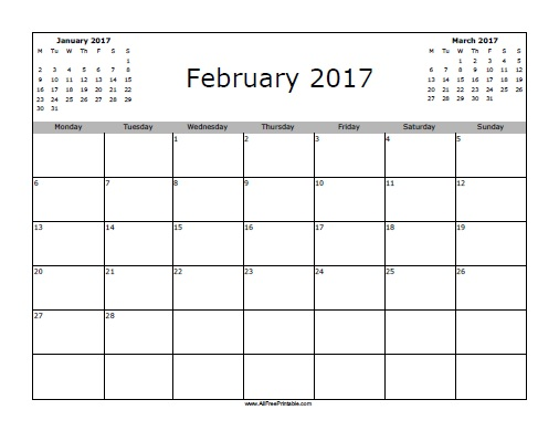 Free Printable February 2017 Calendar