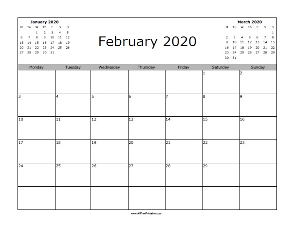 photograph about Printable 2020 Calendar called February 2020 Calendar - Totally free Printable -