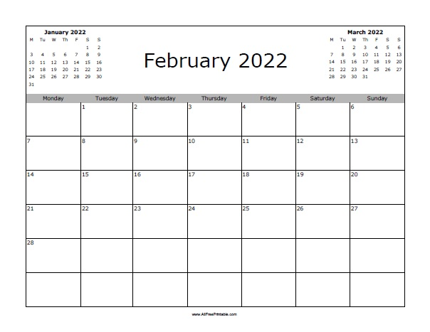 Calendar Feb 2022 Printable.February 2022 Calendar Allfreeprintable Com