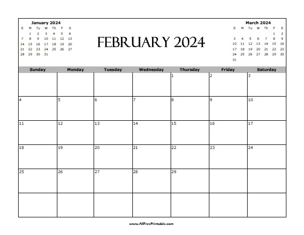 Free Printable February 2024 Calendar