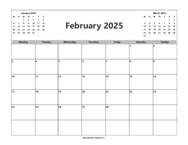 Free Printable February 2025 Calendar