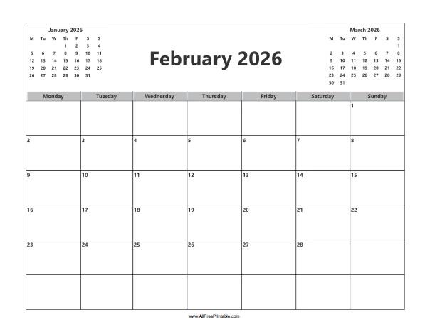 Free Printable February 2026 Calendar
