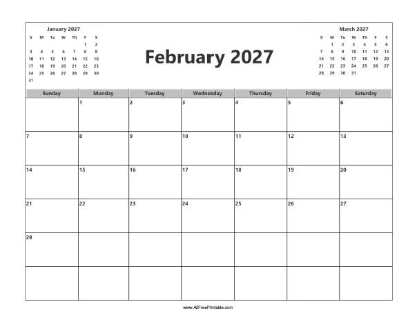 Free Printable February 2027 Calendar