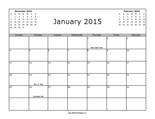 Free Printable January 2015 Calendar with Holidays