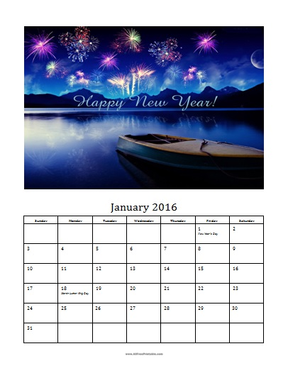 Free Printable January 2016 Photo Calendar Template