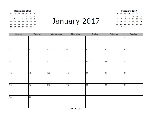 january 2017 calendar free printable. Black Bedroom Furniture Sets. Home Design Ideas