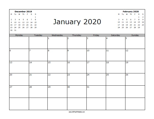photo about Calendar January Printable identified as January 2020 Calendar - Free of charge Printable -