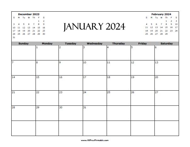 Free Printable January 2024 Calendar