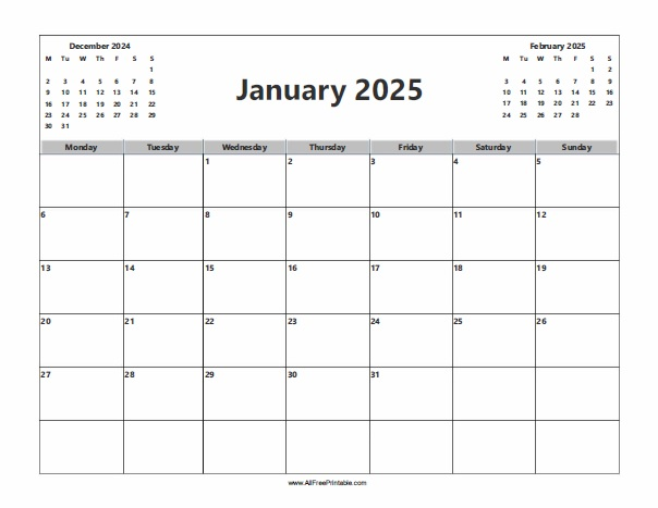Free Printable January 2025 Calendar