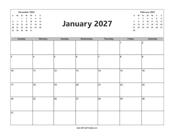 Free Printable January 2027 Calendar