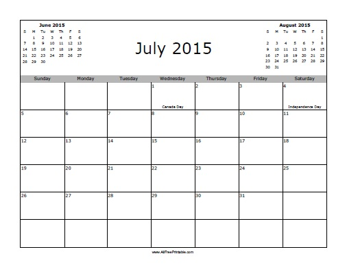 Free Printable July 2015 Calendar with Holidays