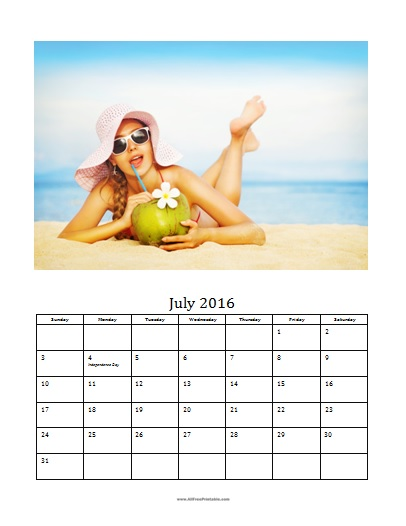 Free Printable July 2016 Photo Calendar Template