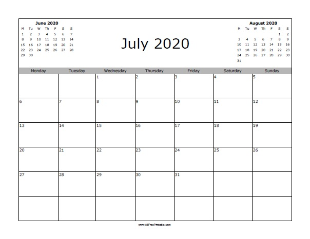 graphic regarding Free Printable July Calendar named July 2020 Calendar - No cost Printable -