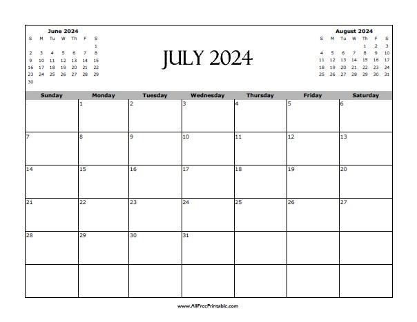 Free Printable July 2024 Calendar