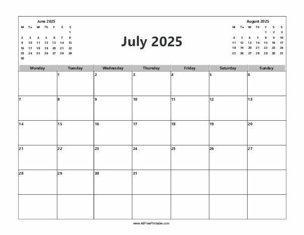 Free Printable July 2025 Calendar