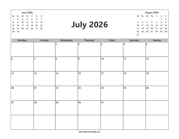 Free Printable July 2026 Calendar