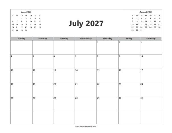 Free Printable July 2027 Calendar