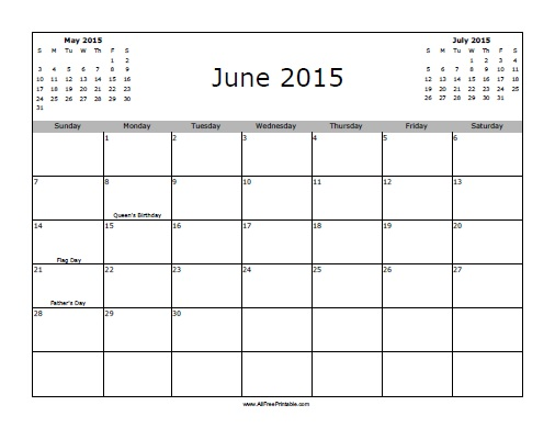 Free Printable June 2015 Calendar with Holidays
