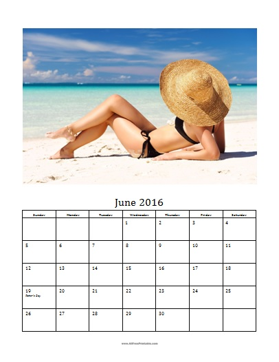 Free Printable June 2016 Photo Calendar Template