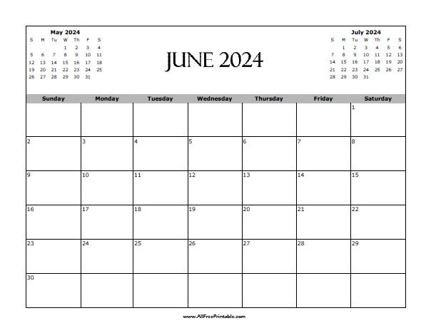 Free Printable June 2024 Calendar