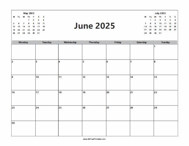 Free Printable June 2025 Calendar