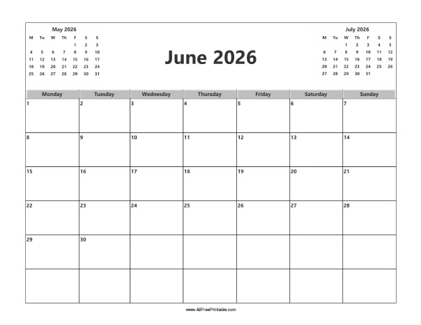 Free Printable June 2026 Calendar