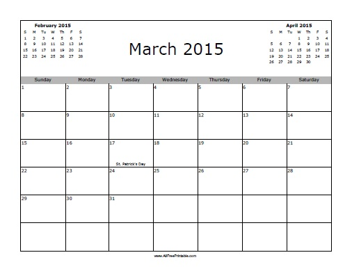 Free Printable March 2015 Calendar with Holidays