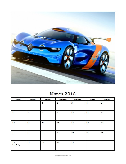 Free Printable March 2016 Photo Calendar Template