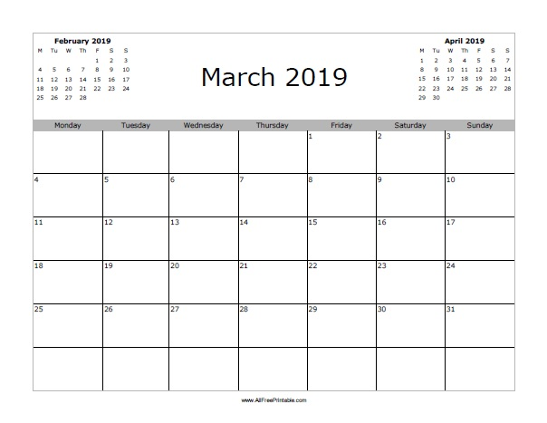 March 2019 Calendar Free Printable Allfreeprintable Com