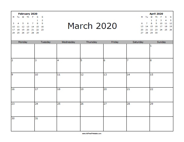 picture regarding Free Printable March Calendar called March 2020 Calendar - Absolutely free Printable -