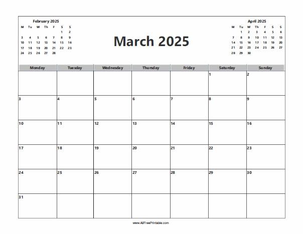 Free Printable March 2025 Calendar