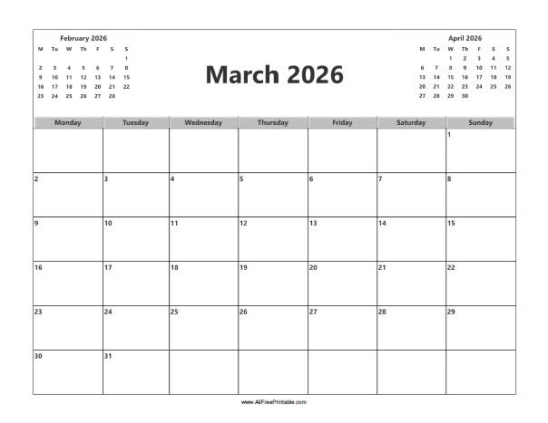 Free Printable March 2026 Calendar