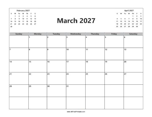 Free Printable March 2027 Calendar