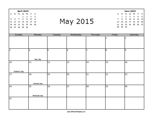 Free Printable May 2015 Calendar with Holidays