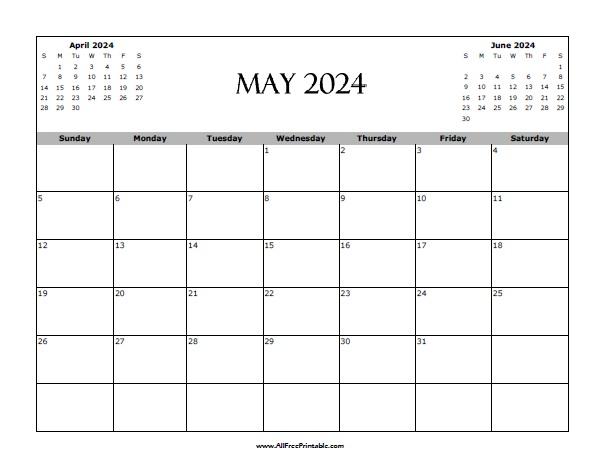 Free Printable May 2024 Calendar