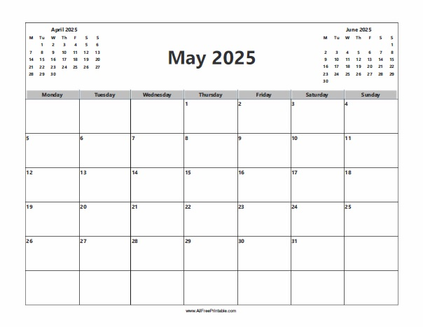 Free Printable May 2025 Calendar