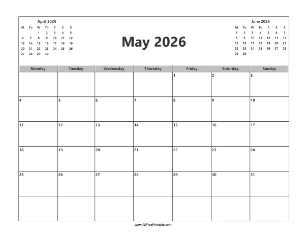 Free Printable May 2026 Calendar
