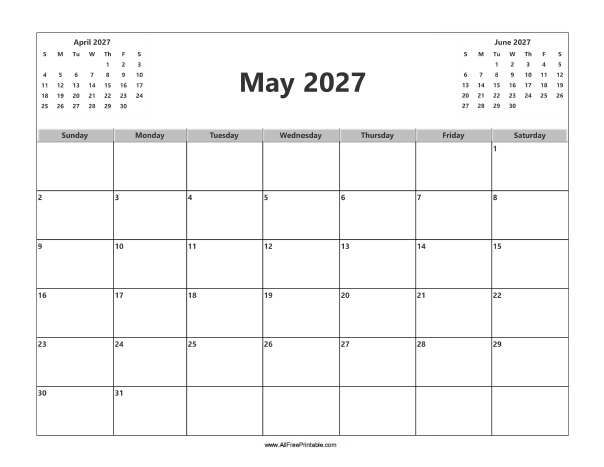 Free Printable May 2027 Calendar