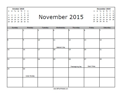 Free Printable November 2015 Calendar with Holidays