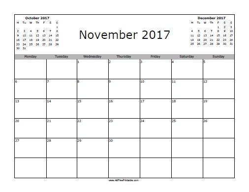 Free Printable November 2017 Calendar