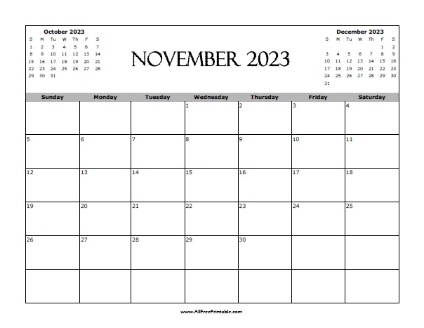photograph relating to Printable Nov. Calendar named November 2023 Calendar - Free of charge Printable -
