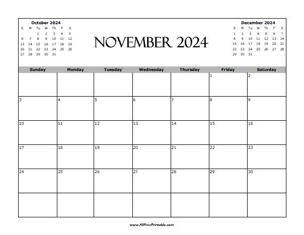Free Printable November 2024 Calendar