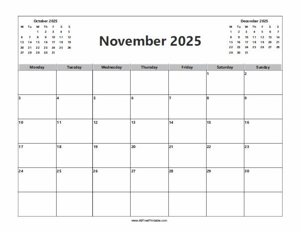 Free Printable November 2025 Calendar