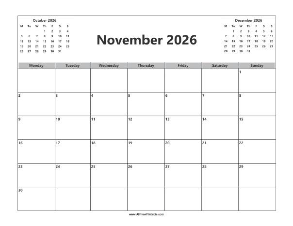 Free Printable November 2026 Calendar