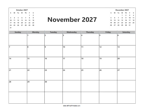 Free Printable November 2027 Calendar