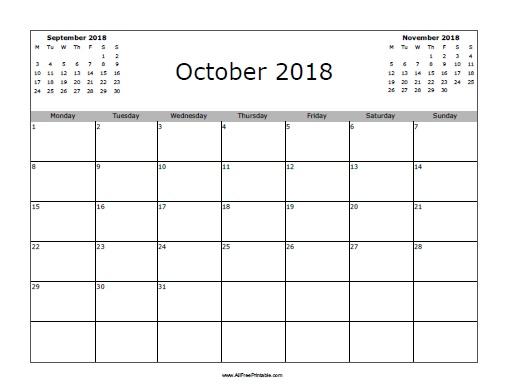 Free Printable October 2018 Calendar