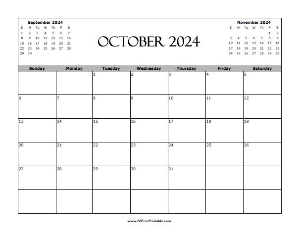 Free Printable October 2024 Calendar