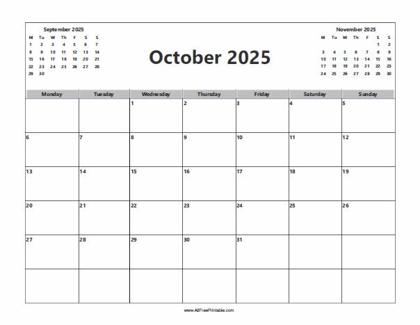 Free Printable October 2025 Calendar