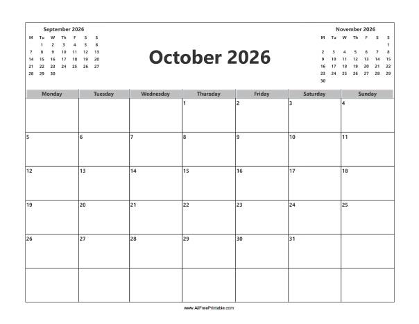 Free Printable October 2026 Calendar