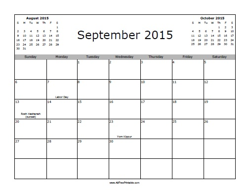 Free Printable September 2015 Calendar with Holidays